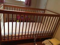 little Acorns Cream and Oak Complete Nursery Furniture includes Cot Bed Mattress