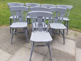 LOCAL DELIVERY Set of 8 solid pine traditional farmhouse DINING CHAIRS grey shabby chic