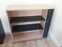 Executive beech tambour storage cabinets