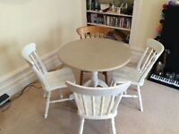 Painted farmhouse dining table with 4 chairs (could do with a repaint)