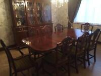 Mahogany dining table and 8 chairs and sideboard