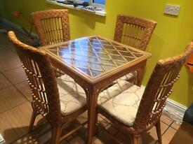Wicker Glass Table and 4 chairs