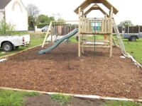 wood chippings garden mulch ideal for weed suppression sold in builders sacks