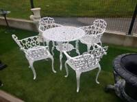 Cast iron and aluminium garden furniture tables and chair sets