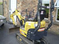 2015 YANMAR SV08 1 TON MICRO DIGGER, WITH EXPANDABLE TRACKS AND SEMI QUICK HITCH