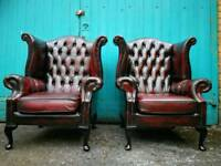 Antique vintage retro matching pair of leather chesterfield queen anne wing armchairs sofa suite