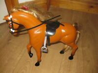 Barbie HORSE - with long tail & mane + Saddle & Bridle + FREE BARBIE DOLL!