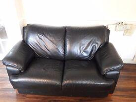 Faux Leather 2 seater black sofa