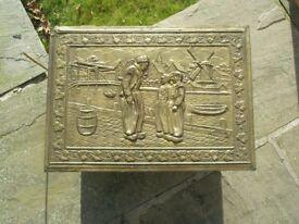 Antique Brass Log Box.
