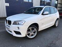 2013 BMW X3 2.0 20d M Sport XDrive White Diesel Low Mileage 1 Year MOT Black Leather Interior 4X4