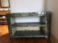 Metal, distressed bookcase
