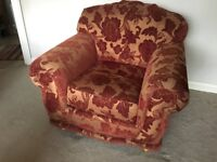 Red and gold fabric 3 seater sofa and 2 armchairs
