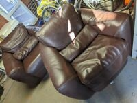 Lovely Aura Italian leather sofa and arm chairs