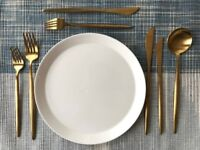120 sets of modern gold cutlery | gold flatware for weddings and events | 840 pieces total