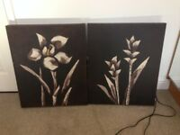 Two matching oil canvas's, flower design