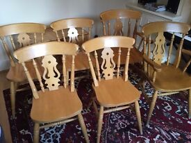 Solid Pine Yorkshire Fiddleback Chairs (Set of 6)