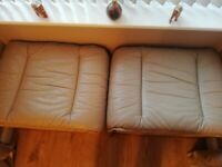 Laura Ashley leather suite settee