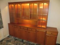WALL UNIT - LARGE - WOOD - IN 3 PARTS - EX. CONDITION - WITH LIGHTS