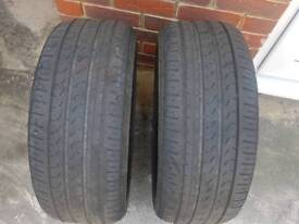 2x Pirelli cinturato p7 A0 225 45 17 4mm tred left two tyres