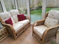 Penang Cane Conservatory Furniture Full Suite with Luxury Cushions and coffe table