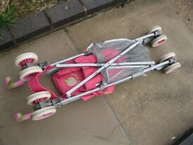 FOLDING BABY STROLLER, PINK WITH RAIN COVER