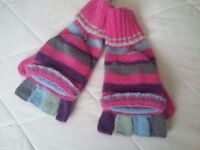 Brand New With Labels Monsoon Age 10-13 Year Girls Capped Knitted Gloves