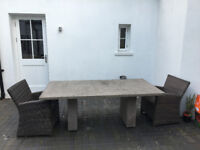 Concrete Garden Table with sprayed effect finish, 2 x 1 x 0.75 m, outdoor patio table