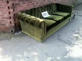 Green velvet Chesterfield sofa. Classic Vintage style. Free to a good home.
