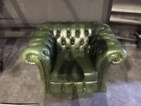 Bespoke green leather Chesterfield armchair