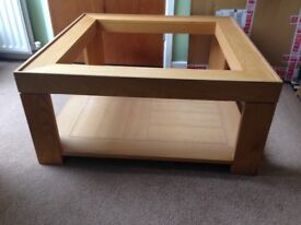 Coffee Table, Glass Top, Oak Finish