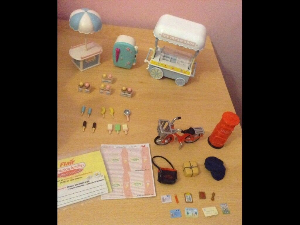 Sylvanian families Ice cream trailer and post man accessories bundle.