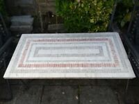 Stunning wrought iron mosaic tiled coffee table (outdoor or conservatory use)