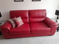 Red Leather Sofa - 3 seater