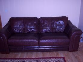 Brown leather 2 and 3 seater sofa for sale.