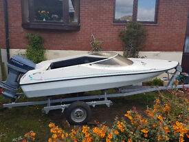 14ft Speedboat/Speed boat with Evinrude 50HP Electric start outboard and break back trailer