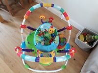 Baby activity bouncer, barely used. 3 height settings. Easy to fold down and store and clean