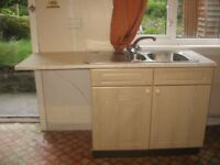 used fitted kitchen units and worktops and s/s sink ,