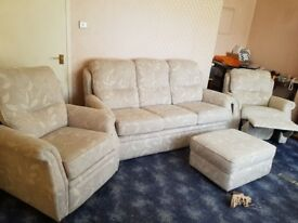 G plan Pinter 3 seat sofa,armchair,electric recline armchair,footstool. RRP £2900.Sale price£600 ono