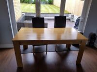 Dining table and 4 leather chairs