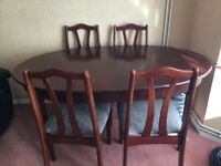 Dining table G plan extendable and 4 chairs