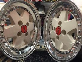 """Gotti 3 piece split rims 15"""", 4x100, 8J 165/50 nankang tyres"""
