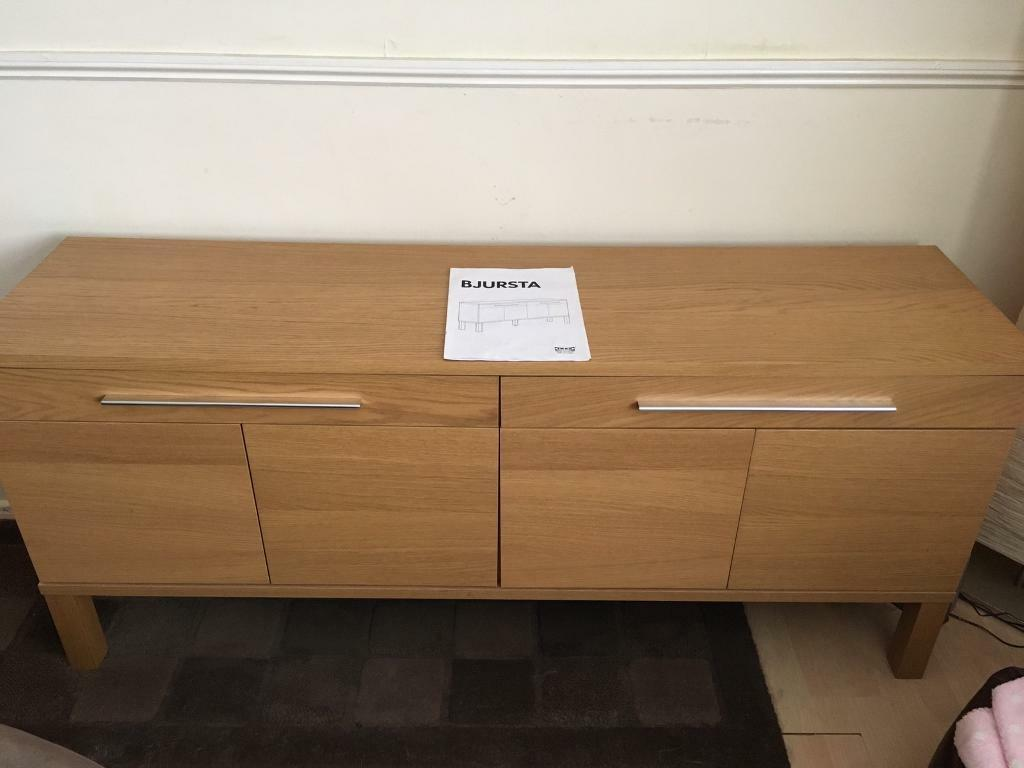 Sideboard, Ikea bjursta, light wood vgcin Leamington Spa, WarwickshireGumtree - I have for sale our Ikea sideboard in very good condition, its light wood, Hx68cm Dx40 Lx156cm, no longer needed, collection is from north leamington, it will take two people and a suitable vehicle