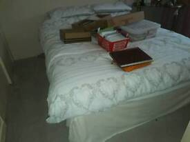 King size bed - duvan with drawers and matress