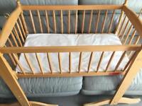 Baby Cot and Mattress Crib Swinging.