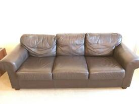 3 seater high quality brown leather sofa, perfect condition