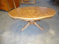 Vintage Coffee table inlaid flower design with pedestal base shabby chic