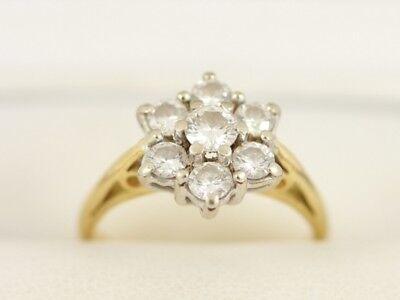 Diamond Cluster Ring 18ct Gold Ladies Size K 750 3.7g Bj89