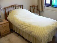 Staples Single Divan Bed & Pine Headboard