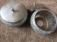 Mosaic storage jars - two
