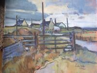 Canvass painting by Richard Walker - Village Street in Lewis – collector's item